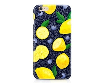 Lemons and Blueberries Case, Fruity Phone Case, Summer Phone Case, Citrus and Berries Phone Case, iPhone 8, Samsung Galaxy S9