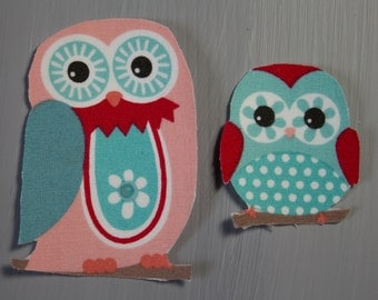 Owl Iron on Fabric Transfer Applique - 2 pieces - 9682