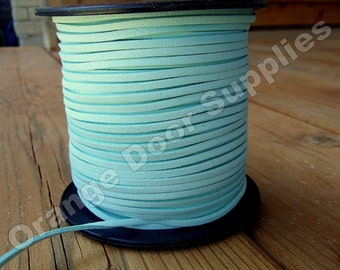 Light Mint Green Faux Suede Cord 3 x 1.5 mm- 5 yards 15 feet (102)