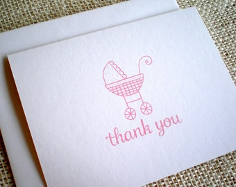 Baby Girl Baby Shower Thank You Cards - Set of 10 Cute Hand Drawn Baby Carriage Thank You Notes - Pink or Purple Baby Girl Thank You Cards