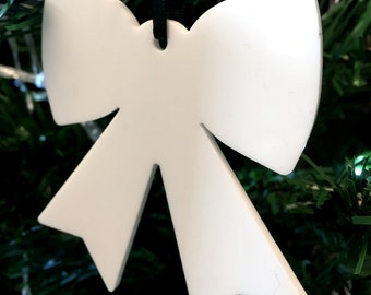 Set of 10 x White Bow Christmas Tree Decorations in  Acrylic