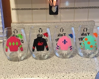 Talk Derby to Me - Set of 4 Stemless Wine Glasses