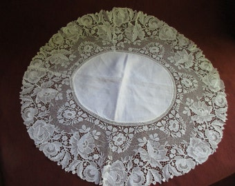 Vintage Rothschild Linen and Lace Scarf