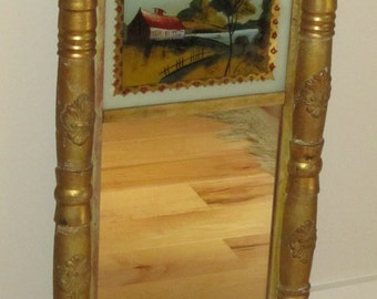 19th c. Reverse Painted Mirror