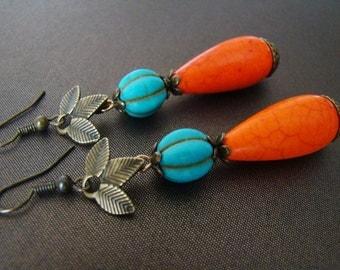 Turquoise orange earrings Stone dangle earrings Howlite beads earrings Unique earrings Boho Bright earrings Teardrop earrings Women gift