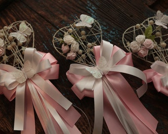 Flower Girl Heart Wand (Ivory) - With Flowers - Silk & Organza Ribbon - Baby Pink/White (Other Colours Available) - Wedding Flower Girl Wand