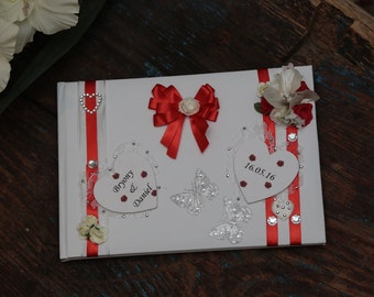 Wedding Guest Book - Personalised & Hand Decorated - Red Wedding Guest Book (All Colours Available)