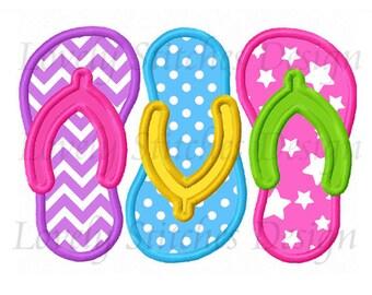 Summer Three Flip Flops Applique Machine Embroidery Design NO:0549