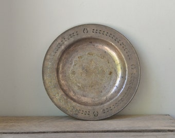 Vintage Old World Tarnished Silver Plated Plate