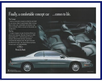 "1995 BUICK RIVIERA AUTOMOBILE Original 1994 Vintage Large Print Ad -  Silver Luxury Car ""Finally, Comfortable Concept Car Comes To Life"""
