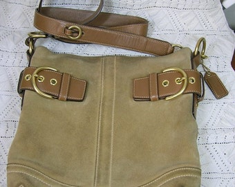 Vintage Coach Bag, Beige Suede and Leather, Lots of Solid Brass!