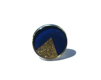 Blue and Golden Triangle Ring, handmade ring, Triangle Ring, Geometric Jewelry, Adjustable ring, Dark Blue