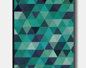 Greens and Blues - Geometric Triangle Pattern Print