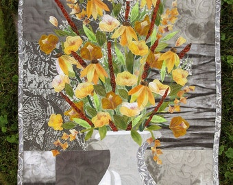 Hand painted fabric art quilt, wallhanging - Yellow Boquet