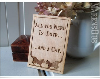 wooden sign for cat lovers, medium