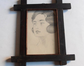 antique original pencil drawing in wooden frame, lady's portrait