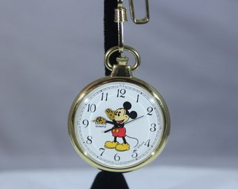 Men's Beautiful Lorus by Seiko Open Case Mickey Mouse Quartz Pocket Watch With Chain