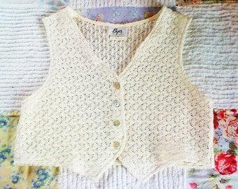 Vintage Women's Crochet Vest, Off White, Large, Shell Buttons, Boho, Hippie, Retro, Byer of California