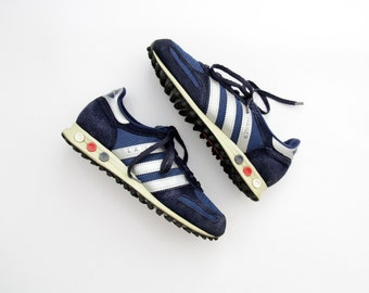 Vintage Sneakers // Adidas L.A. TRAINER Navy Sneakers Shoes // Made in Yugoslavia