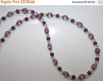 25%OFF Amethyst Purple Catherdal Glass Necklace
