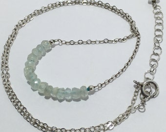 """Solid Sterling Silver Faceted Aquamarine Necklace 16-18"""" over 8 CT!"""