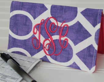 Personalized Checkbook Cover, Monogrammed Case, Slip Wallet, Coupon/Receipt, Mothers Day Gift, Stocking Stuffer