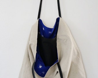 SALE/// Market Tote in Tan cotton/linen blend