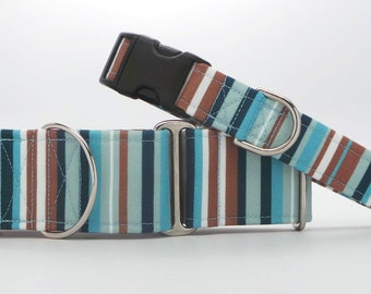 Seaside Stripes CANVAS Dog Collar (Martingale, Buckle or Tag)