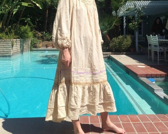 Crocheted 70s Peasant Dress