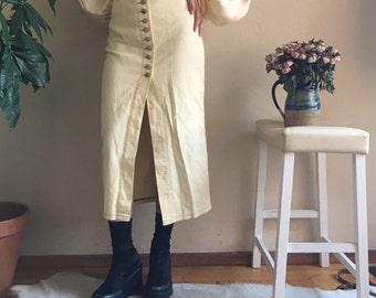 Custard Yellow Ribbed Denim Button Down Skirt