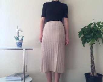 Beige Knit Midi Skirt