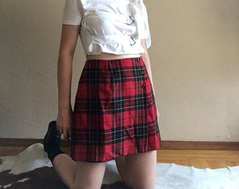 90s Plaid Red Wool Skort