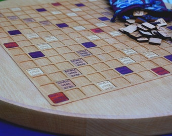 Scrabble Board Game Art(Round) (German Beech)