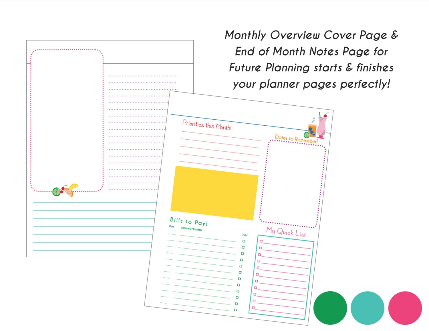 Galerry printable weekly planner refill