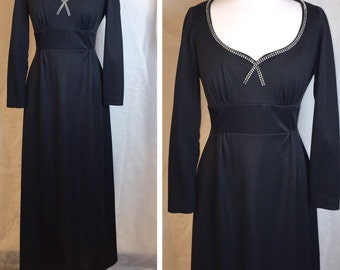 Vintage Black Empire 60's Gown