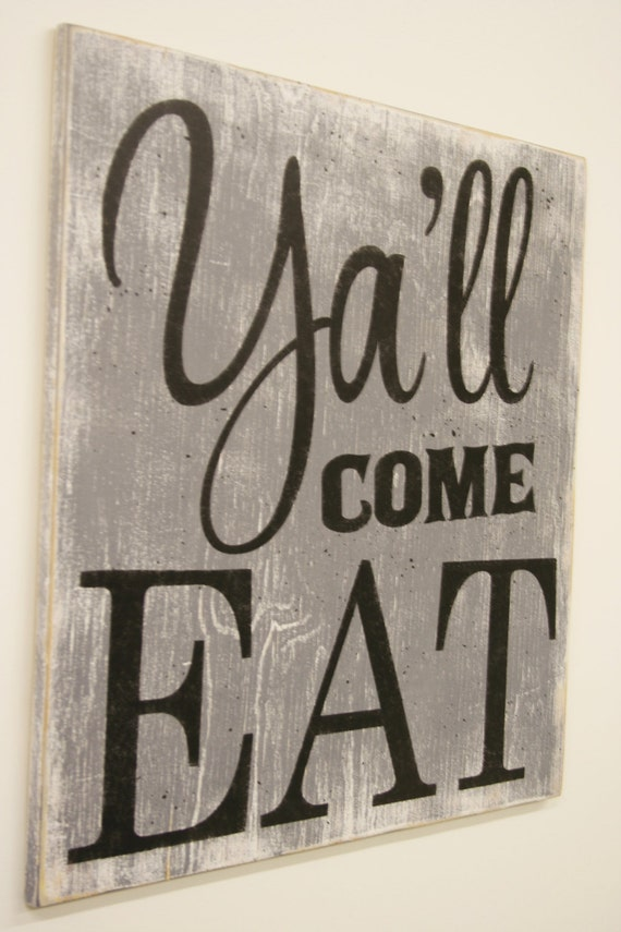 Y 39 all come eat wood sign kitchen sign dining by for Dining room vintage wall art
