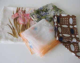 Vintage Womens Scarf Collection - set of 4 scarves