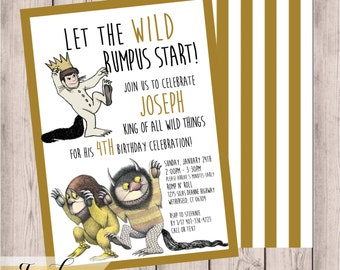 Where the Wild Things Are, Birthday Party Invitation, Children's Birthday Party, Printable Invitation, 5x7, Digital Invitation, Wild Things