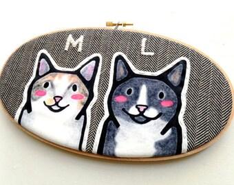 Custom Cat Portrait - Custom Portraits - Pet Portrait - Embroidery Hoop Art - Pet Lovers - Gift for Pet Lovers