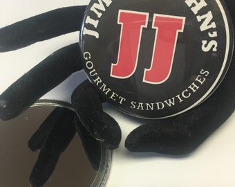 pocket mirror  made from a recycled Jimmy Johns carryout bag