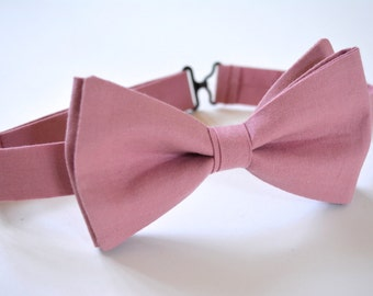 dusty rose bow tie for men, bow ties for men, dusty rose bow tie for weddings,dusty rose weddings,dusty rose cotton,dusty rose
