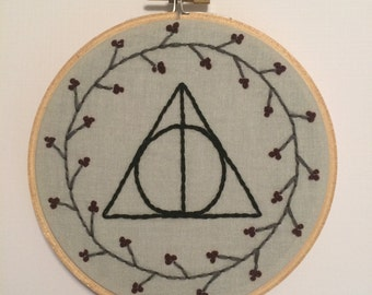Harry Potter Deathly Hallows Embroidery Hoop Art Wall Decor