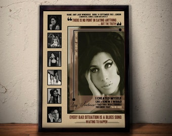AMY WINEHOUSE Quote Art Print Poster * Forever 27 *  Retro Vintage Wall Decortation * A1 A2 A3 A4 Sizes Available