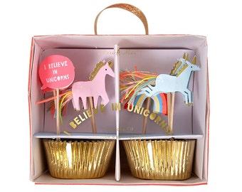 Rainbow and Unicorn Cupcake Kit - Meri Meri Gold Baking Cups and Cupcake Toppers