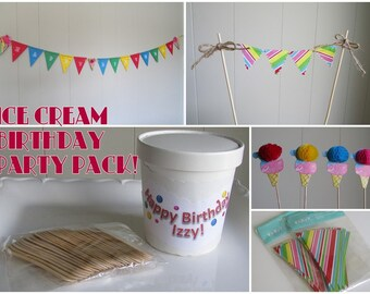 Ice Cream Party Pack, Ice Cream Birthday Party Pack, Ice Cream Parlor Decorations, Ice Cream Parlor Birthday, Multicolored Ice Cream Party