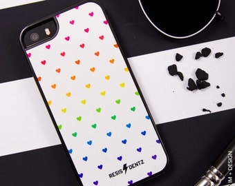 Mini Rainbow Hearts - Cell Phone Case - Cover - iphone 5 - 5s - iphone 6 - 6s - iphone 6 Plus - 6s plus - 3D Case - Bumper Case