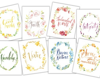 LDS Young Women Values in Watercolor Flower Wreaths (8-pack), DOWNLOADABLE!!