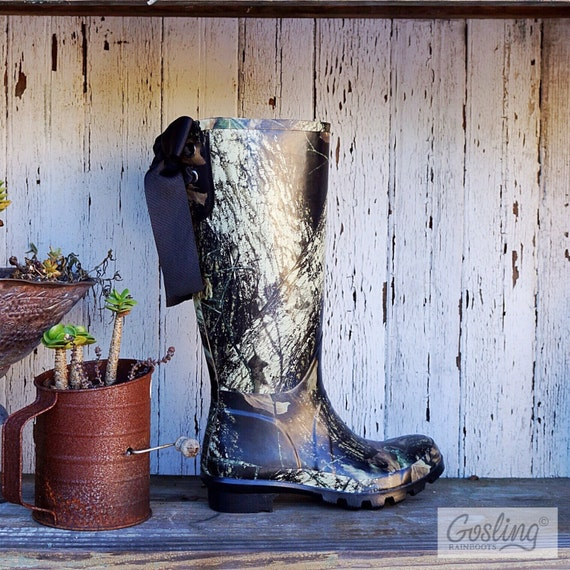 Black, Camo, Rain Boots with Bows, Tall