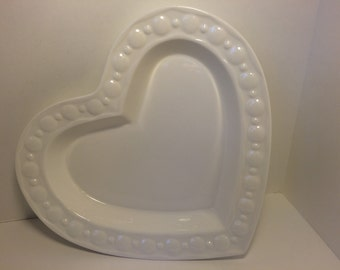 SALE! White Ceramic Heart Plate *FREE SHIPPING*