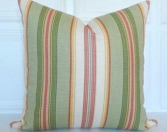 Linen Blend Striped Pillow Cover -  Decorative Pillow - 18x18, 20x20, 22x22 - Lumbar - Stripe - Sage Green, Salmon, Ivory - Throw Pillow